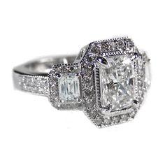 Engagement Ring - Three Stone Emerald Cut Diamond Engagement Ring Setting Halo Vintage Design Pink & White Gold - ES242ECPG ($2,888) found on Polyvore