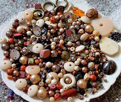 HUGE 15 oz Destash Bead Mix Vintage Glass Plastic Rhinestone Metal Brown Tan Natural Neutral Inspiration Altered art diy by PhatCatVintage on Etsy https://www.etsy.com/listing/246191276/huge-15-oz-destash-bead-mix-vintage