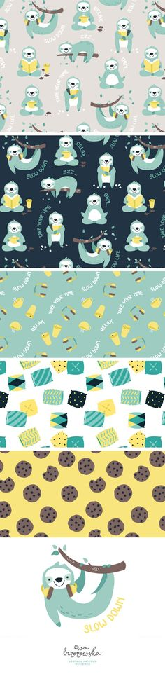 Lazy Sloth - textile surface pattern design - collection of patterns with sloth motifs in mint, navy and yellow color palette. Lazy Sloth - textile surface pattern design - collection of patterns with sloth motifs in mint, navy and yellow color palette. Textile Pattern Design, Surface Pattern Design, Pattern Paper, Kids Prints, Baby Prints, Fun Prints, Matte Painting, Storyboard, Pattern Illustration