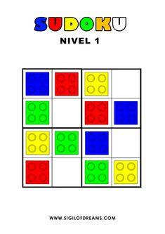 Sudoku con fichas de colores Lego Duplo para niños a partir de 3 años. Nivel 1 de 10. #sudoku #sudokucolores #sudokucolours #sudokulego #lego #educación #education #aprenderjugando #playandlearn #pasatiempos #puzzlegames Lego Duplo, Lego Math, Lego Activities, Toddler Learning Activities, Logic Games For Kids, Lego Club, Montessori Math, Grande Section, Lego Blocks