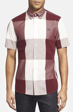 Men's Fred Perry Magnified Gingham Short Sleeve Sport Shirt