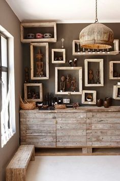 I love this look for an art studio or hobby shop!!
