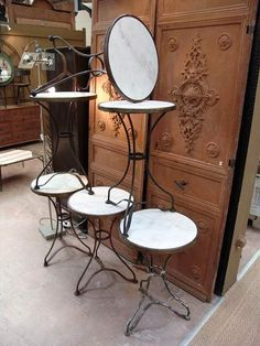 French Vintage Iron Cafe Bistro Tables with Round Marble Tops ...