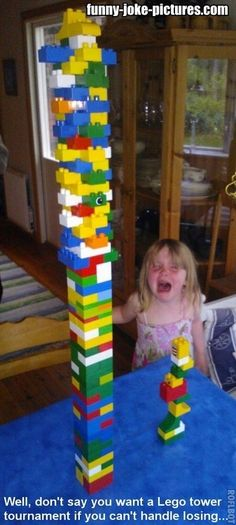 Funny Boss Dad Lego Tower Tournament Picture-------oh the joys of parent hood