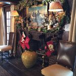 Christmas in Connecticut -- Quintessence || Lisa Hilderbrand dining room fireplace, decked out for Christmas, New Canaan Holiday House Tour 2015