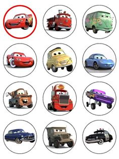 24 Cars Lightning McQueen ICING Edible Cupcake Toppers Party Decoration in Home & Garden, Kitchen, Dining, Bar, Baking Accs. & Cake Decorating | eBay!