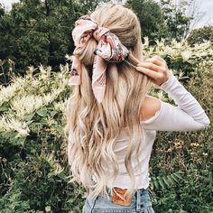 Colorful scarf in your hair will definitely make you unique and very beautiful., Summer Hairstyles, Colorful scarf in your hair will definitely make you unique and very beautiful. It is perfect hair accessory for hot summer. Hair Day, Your Hair, Coiffure Hair, Scarf Hairstyles, Hairstyle Ideas, Long Wavy Hairstyles, Easy Hairstyle, Braided Hairstyles, Ribbon Hairstyle