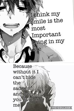 The Smile just hides it Sad Anime Quotes, Sad Love Quotes, Funny Quotes, Life Quotes, Depression Quotes, Writers Write, Truth Hurts, How I Feel, True Stories
