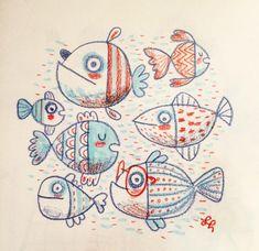 Fish Pencil Drawing, Fish Drawings, Art Drawings, Face Stencils, Fish Illustration, Doodle Inspiration, Fish Art, Painted Rocks, Art For Kids