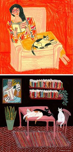 Interior illustrations by María Luque | contemporary illustration | sketch-style painting