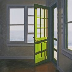 """Jim Holland - """"Truro interior"""" oil on canvas Edward Hopper, Through The Window, Interior Paint, Interior Design, Windows And Doors, Painting & Drawing, Light Painting, Landscape Paintings, Landscapes"""