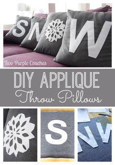 """Perfect for Christmas and the holiday season - DIY """"SNOW"""" Applique Throw Pillows via www.twopurplecouches.com"""