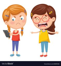 Kids fighting for smartphone vector image on VectorStock School Cartoon, Cartoon Kids, Preschool Worksheets, Preschool Activities, Classroom Schedule, Emotional Child, Bike Illustration, Sunday School Crafts, Pre School