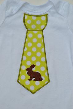 Baby Boy Easter Tie Onesie outfit with Chocolate Bunny by evmodernbaby  FREE personalization (name or monogram) for a limitied time ONLY preemie size available