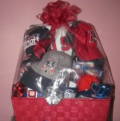 Have Churches Create Gift Baskets to Raffle off - Love this auction basket! Would be a hit at your PTO or PTA event! All New England sports theme!