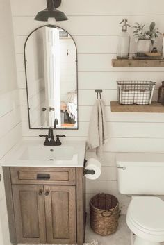 Decorating rustic bathroom you just have to think about bigger size wooden elements, such as decorative beams, reclaimed wood or restored furniture like old mirror frame, door casing, etc. Round Bathroom Rugs, Diy Bathroom, Rustic Bathroom Vanities, Rustic Bathroom Decor, Rustic Bathrooms, Bathroom Renos, Bathroom Interior, Modern Bathroom, Neutral Bathroom