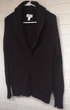 02b6c17d0b9e Details about Women's Ann Taylor Loft Dark Brown Vneck Long Sleeve Wool  Alpaca Sweater Sz L