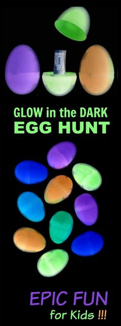 Got 30 seconds?  That's all it takes to set up this AWESOME glow-in-the-dark egg hunt for kids! #egghunt #glowinthedark #easteractivities #kidsactivities
