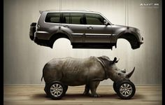 36 Creative Advertisments by Platinum - rhino power is taking over horsepower? haha