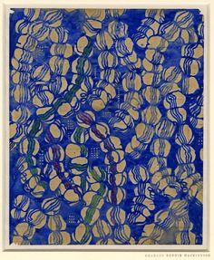 Blue Garlands; textile design, predominantly blue, with a little red and green.  c.1916 Watercolour, squared for transfer