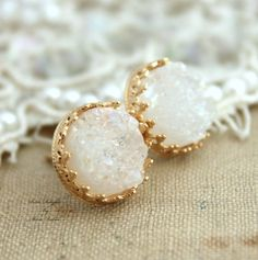 Golden studs White Druzy earrings bridal earrings - 14k Gold filled Crown Lace setting gemstone jewelry.