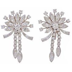 1stdibs   Art Deco  Platinum with Diamonds Earrings