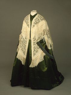 Cream Colored Cape With Floral Design And Fringe     c. 1850's-1860's  -  From The State Hermitage Museum