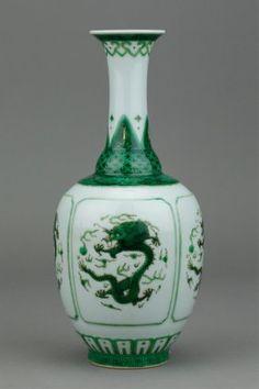 Chinese Green Dragon Porcelain Vase Qianlong Mk