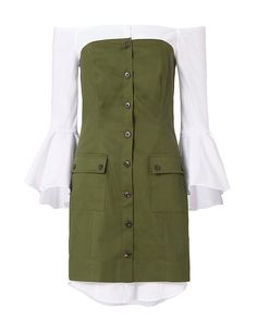 Exclusive for Intermix Sinclair Poplin Underlay Dress: Olive: A flared long sleeve poplin shirt layered under a strapless button placket dress. In…
