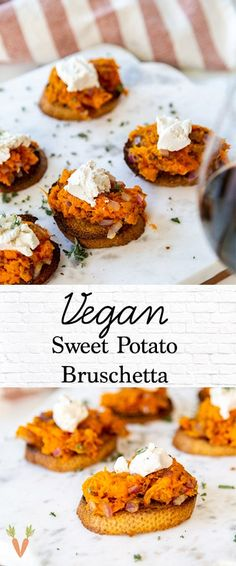 An easy vegan sweet potato bruschetta recipe! Made with truffle oil , this is a delicious appetizer for a party. Fall Appetizers, Vegan Appetizers, Vegan Snacks, Appetizer Recipes, Vegan Recipes, Vegan Food, Canapes Recipes, Delicious Appetizers, Healthy Food