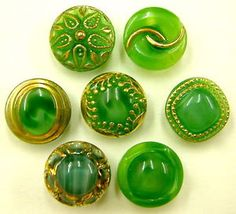 Vintage green glass moonglow buttons