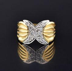 Vintage 14K Gold Diamond Pave Hug X Ring #Ring #Diamond #Gold #intage #ngagement #Vintage #wedding #14K #Etruscan #Fantastic