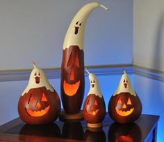 Gourds...so cute with the ghost on top of the pumpkin! Sorry but no link attached :(
