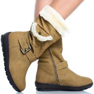 Beige Faux Fur Trim Snow Winter Womens Platform Flat Mid Calf Boots
