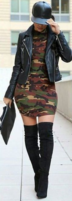 Pinterest: Nas: Camo Stretch  Knit Mini-Dress, Knee-High Boots, Moto Leather Jacket, & Leather Ball Cap.