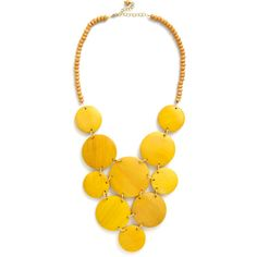 Mata Traders Statement Strewn with Sunlight Necklace (€27) ❤ liked on Polyvore featuring jewelry, necklaces, accessories, yellow, modcloth, fair trade jewelry, mata traders, yellow jewelry, polka dot necklace and wooden jewelry