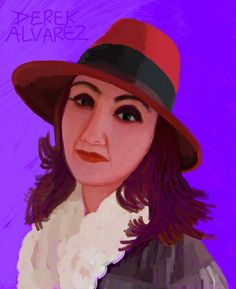 Monique in Red Hat with Purple Background by Derek Alvarez