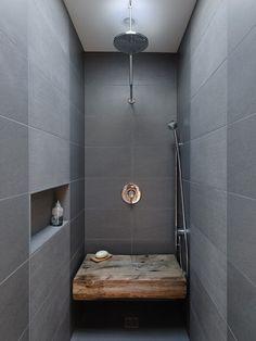 Modern rustic shower.