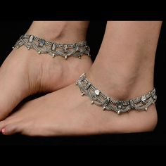 Fashionable Oxidized Silver Anklets Fashionable oxidized silver anklets. Matching dresses, sari or for more variety visit kaneesha.com #StylishDesignerAnklets #SilverStylishAnkletsPrice