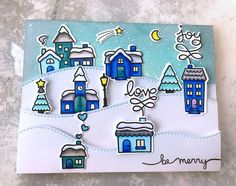 the Lawn Fawn blog: Winter Village Christmas Card by Christine.