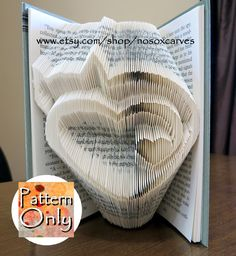 Cat Heart Folded Book Art Pattern von nosoxcarves auf Etsy