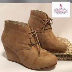 """Trending Taupe Faux Suede Wedge Booties Size 7 Trending Taupe Faux Suede Wedge Booties Similar to Toms Desert Wedge booties that are expensive and hard to find! Look so cute with dresses or skinny jeans and can be worn year around! Amazingly comfortable 3 1/4"""" wedge Non slip rubber sole, tie closure, faux suede Size 7, true to size New, box included  PRICE FIRM UNLESS BUNDLED ~ Create a bundle for 15% off! Thank you for Looking!  Never paypal, no trades Hourglass Lady Shoes Ankle Boots…"""