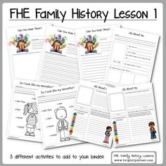 Family Home Evening Lesson #1 on Family History fun for the family.  Download these free worksheets to add to your family history binder.