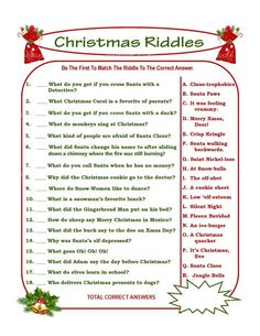 Christmas Riddle Game, DIY Holiday Party Game, Printable Christmas Game, DIY Game For Holiday, Xmas Game Idea, Kid Game - Printables 4 Less