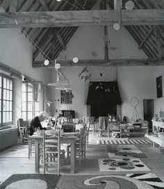 Calder studio with his latch hook rug