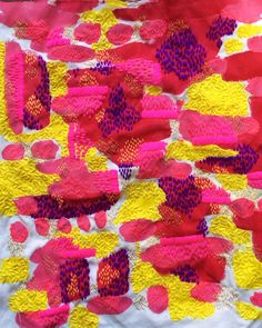 Hand embroidered and painted fabric by Liz Payne