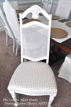 The Latina Next Door's dining room chairs before and after