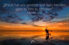 """""""Er hat uns #gerettet und uns dazu #berufen, ganz zu ihm zu #gehören. Nicht etwa, weil wir das #verdient hätten, sondern aus #Gnade und freiem #Entschluss. Denn noch ehe diese #Welt bestand, war es #Gottes Plan, uns in seinem Sohn #Jesus #Christus seine #erbarmende #Liebe zu #schenken."""" 2. #Timotheus 1:9 #glaubensimpulse"""