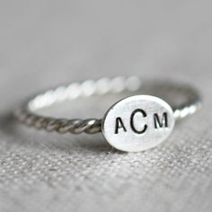 Oval Sterling Silver Ring - stamped and personalized - twist band $25