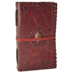 Tiger Eye Stone Inlay Medium Leather Journal